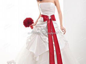красно-белое свадебное платье фото
