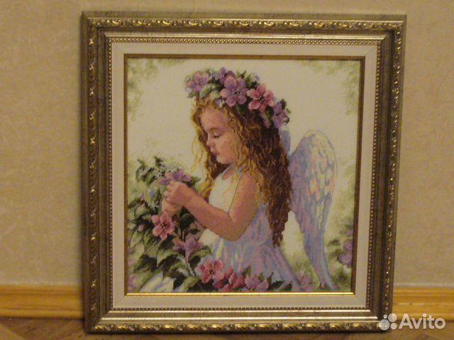 Вышивка крестом ангел цветочный 1