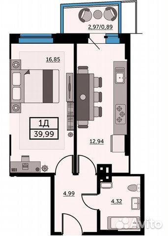 1-к квартира, 39.8 м², 23/25 эт. купить 1