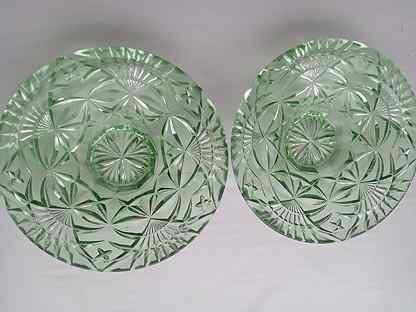 Конфетница 1кдо 50-60-е СССР зеленое стекло винтаж