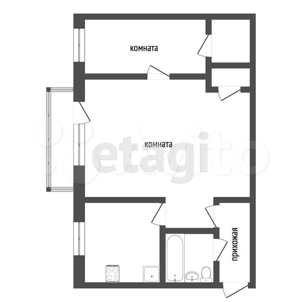 2-к квартира, 42.8 м², 3/4 эт.