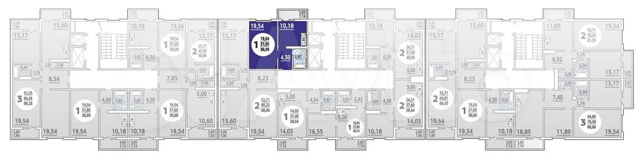 1-к квартира, 39 м², 11/16 эт.  88613255629 купить 1